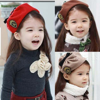 Wholesale Fashion Children Berets Girls Military Cap Beanie Hat Kids Winter Cap Cute Girls Caps