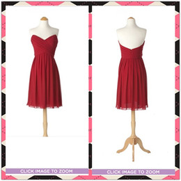 Wholesale In Stock Hot Red A Line Sweetheart Ruffled Short Chiffon Bridesmaid Dresses Short Party Dress Gowns