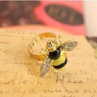 beautiful bee - beautiful shiny small bees ring diamond rings KJ1191123