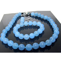 Wholesale New Arrive Christmas Jewelry Set inch MM Beautiful Blue Round Jade Necklace Bracelet Earring