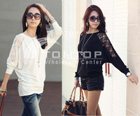Wholesale 2012 New Fashion Women s Blouse Batwing Sleeve Loose Tops round neck T shirt Cotton Lace G0034