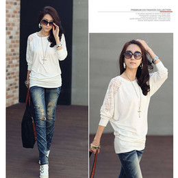 Wholesale 2015 New Fashion Women s Blouse Batwing Sleeve Loose Tops round neck T shirt Cotton Lace G0034