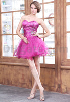 Elegant Short Puffy Ruched Organza Sequined Sweetheart Homec...