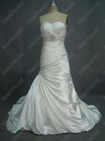 Wholesale Ivory Vintage Wedding Dresses Bridal Gown Adorae JSM1307 Long Beaded A line Sweetheart Ruched