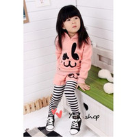 Girl pink zebra - Cartoon Suit set Korean rabbit T shirt Stripe Long pants Children Outfit