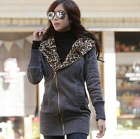 Wholesale Korea Women Hoodies Warm Zip Up Outerwear Leopard Fleece Colors available A960