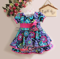 Wholesale New Arrival Bonnie Baby Dress Girl Colorful Flower Dresses Butterfly Kids Formal Dresses E121008