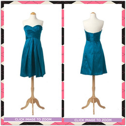 Wholesale Real Picture Cheap Blue Sweetheart Ruffles A Line Short Bridesmaid Dress Party Homecoming Dresses