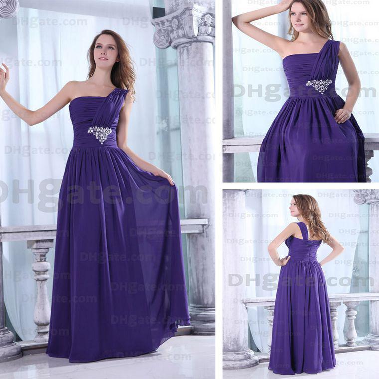 Greek One Shoulder Evening Party Dresses Purple Chiffon ...