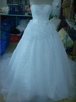 Wholesale NEW Strapless Ball Gown with Satin Corset Bodice Bridal Gowns Wedding Dress Dresses E
