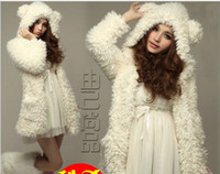 Wholesale New Style hot sale Korea bear furry ears lamb white sweety lovely girl winter warm coat