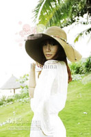 Wholesale sunhat Beach Wide Large Brim Hat Sun Summer Straw Packable Cap With Ribbon Mixed Colors