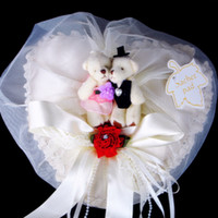 Wholesale Long Chiffon amp Lace Cover Cute Bears With Ribbon Red Rose Rhinestone Wedding Heart Ring Pillow