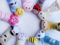 Wholesale Unisex Animal heads the floor socks bells socks toys socks rings animal head socks stereo baby socks