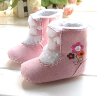 Wholesale Cotton snow boots hot sale popular baby winter shoes baby pink embroided warm footwear
