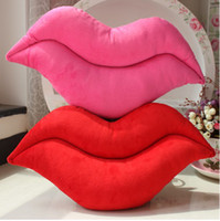 Wholesale Valentine s Day Christmas New Year sexy red lips sided lips plush toy cushion waist pillow