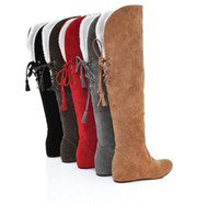 Wholesale Autumn and winter knee women s boots after the bandage Boots Gaotong snow boots internal eleva
