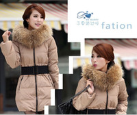 Wholesale New warm eiderdown outwear fur hoodie Down Coat feather coat winter jacket middle length