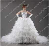 Portrait beautifully designed - Beautifully Luxury Newest Design Strapless Sweetheart Flash Diamond Cathedral Train Wedding Dresses