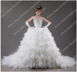 Wholesale Beautifully Luxury Newest Design Strapless Sweetheart Flash Diamond Cathedral Train Wedding Dresses