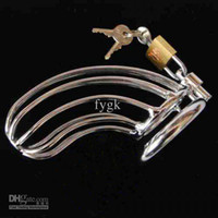 Wholesale NEW Male Chastity Device Stainless Steel Locking Male Chastity Device Wired Steel Cage ps