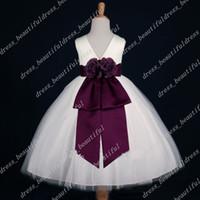 Top Sellers! IVORY PLUM EGGPLANT FLOWER GIRL DRESS