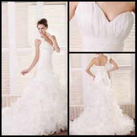 Wholesale Real Sample Designers A line White Wedding Gowns One Shoulder Sweep Organza Lace up Wedding Dresses Corset Back Bridal Gowns