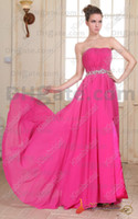 Wholesale Real Photos Fashion Prom Dresses Beaded Strapless Sleeveless Chiffon Full Length Zip Made In China
