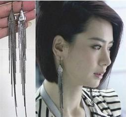 Long Fringe Tassels Dangle Earring Ear Studs Women's Jewelry Silver Tone Alloy