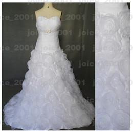 Wholesale 2012 autumn fashion floor length ruffle handmade flower organza wedding dresses bridal gown AWD49