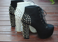 Wholesale Jeffrey campbell European and American big punk rivets thick with high heeled boots of yards