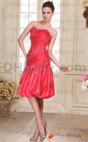 dresses in china - Red Strapless Taffeta Flowers Beaded Sleeveless Knee Length Bridesmaid Dresses Made In China