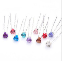 Wholesale Heart Resin Gemstone Crystal Hair Pins Wedding Bridal Jewelry Hair Ornaments Accessories