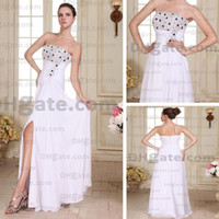 Wholesale Sexy Slit Strapless Evening Party Dresses Black White Sequins Rhinestone Beaded Real Actual Images