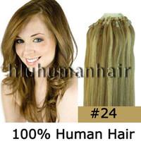 Wholesale 100S pack quot quot quot quot quot quot Remy Micro Ring Loop Human Hair Extensions medium blonde