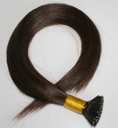 "wholesale 200s pack 1g s 14''- 24"" Keratin Stick I Tip Human Hair Extensions Peruvian hair 2# dark brown dhl Fast shipping"