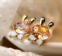 Wholesale Rabbit Shape Ear Stud pairs mix color Fashion Crystal Bow Silver Gold Plated Lovely