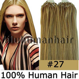 Wholesale 100S pack quot quot quot quot quot quot Remy Micro Ring Loop Human Hair Extensions dark blonde