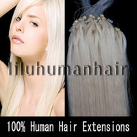 Wholesale 100S pack quot quot quot quot quot quot Remy Micro Ring Loop Human Hair Extensions white blonde