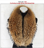 Collar real raccoon fur Man Big size 100% Real Raccoon Fur Collar Women's Neck Warmer Fur Scarf Shawl Man Shearling Fur on Coat