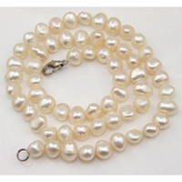 aa stainless steel - New Arrive Christmas Gift Jewelry inch AA MM White Cultured Freshwater Pearl Necklace