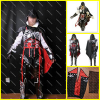Wholesale Assassin s Creed Cosplay Costume Custom Made Assassin s Creed II Ezio Black Edition Cosplay Full Set