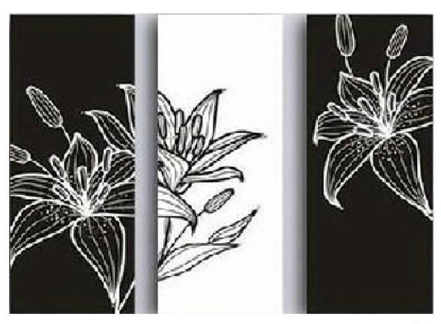 White on Black Canvas Paintings Modern Oil Painting on Canvas