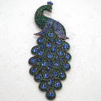 Men's antique sapphire brooch - Sapphire and Emerald Crystal Rhinestone Antique Copper Brooches Big Huge Peacock Pin Brooch fashion jewelry gift C762 B3