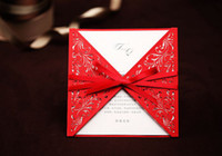 Invitation Cards Folded White Custom red hollow out Invitation card Wedding Invitations come with envelopes sealed