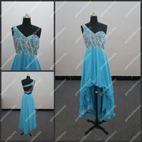 Actual Images One-Shoulder Chiffon Real Product One Shoulder Strap Peacock Blue Chiffon Beaded Corset Short Front Long Back Prom Dress