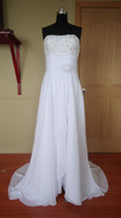 Wholesale Actual Images A line Strapless Beaded Bodice with Hadmade Flower Court Train Chiffon Wedding Dresses