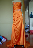 Strapless prom dresses 2012 - 2012 A line Strapless Ruched and Beaded Bodice Court Train Stretch Satin Prom Dresses