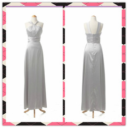 Wholesale New Arrival Exquisite Silver High Quality Halter Ruffles Chiffon Bridesmaid Party Evening Dresses