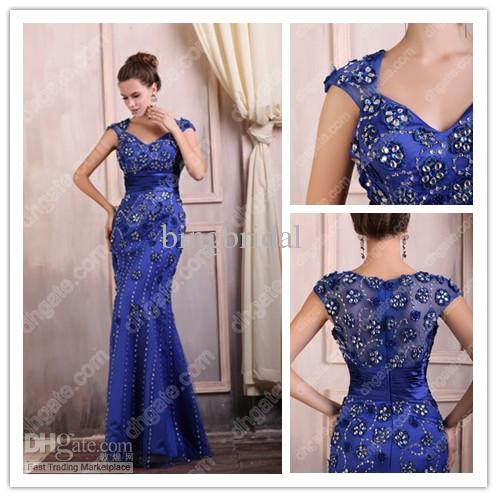 Glamorous Mermaid Evening Dresses V Neck Ruched Satin Beads Royal ...